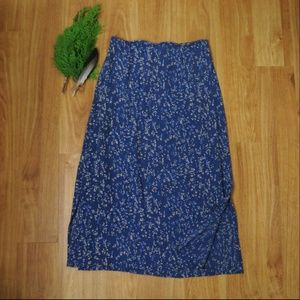 Vintage Rayon Long Skirt blue and white floral